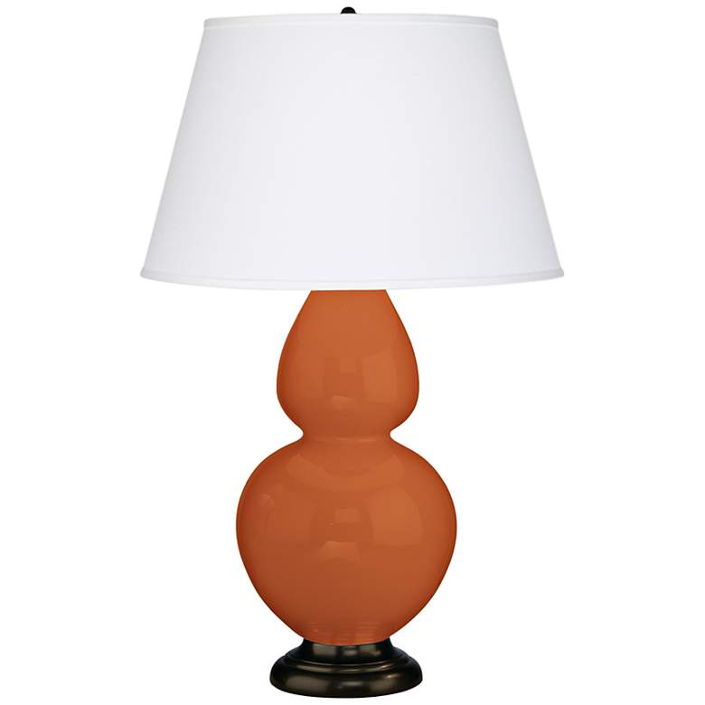 "Robert Abbey 31"" Pumpkin Orange Ceramic and Bronze Lamp"