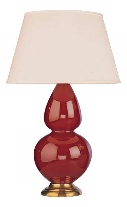 Robert abbey 31 oxblood red ceramic and brass table lamp