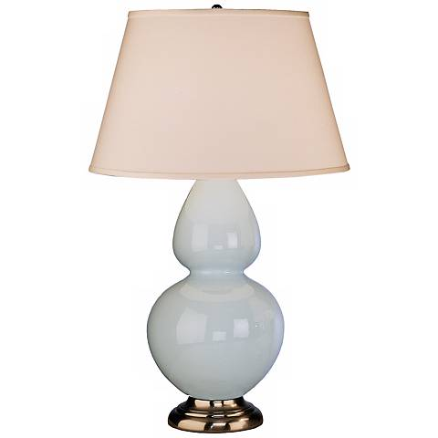 "Robert Abbey 31"" Light Blue Ceramic and Silver Table Lamp"
