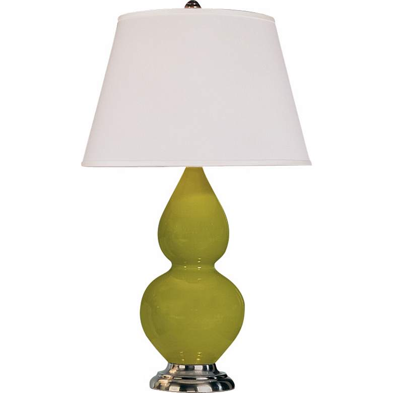 """Robert Abbey 22 3/4"""" Apple Green Ceramic and Silver Lamp"""