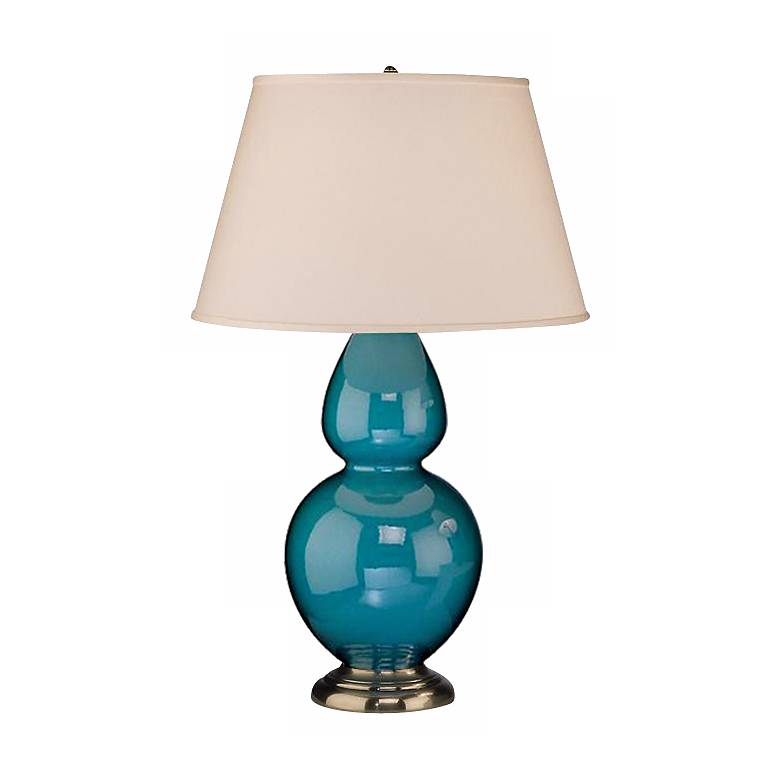 """Robert Abbey 31"""" Peacock Blue Ceramic and Silver Lamp"""