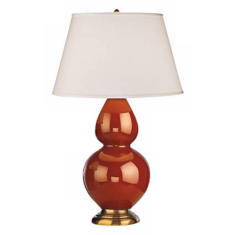 "Robert Abbey 31"" Cinnamon Brown Ceramic and Brass Table Lamp"