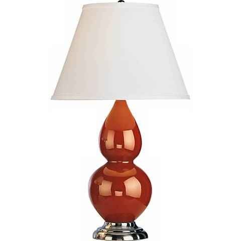 "Robert Abbey 22 3/4"" Cinnamon Brown Ceramic and Silver Lamp"