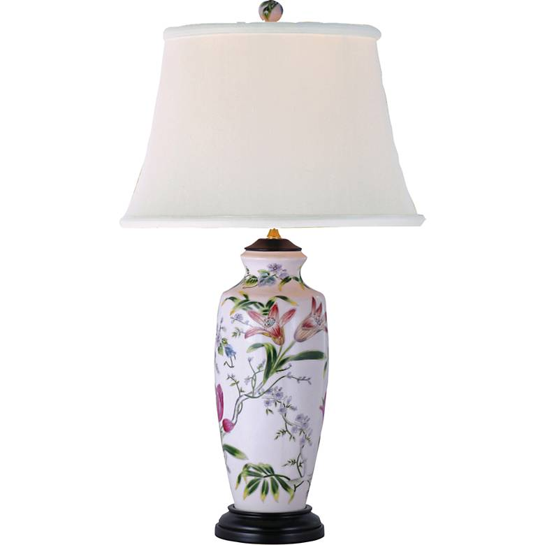 Tall Lily Ginger Jar Porcelain Table Lamp