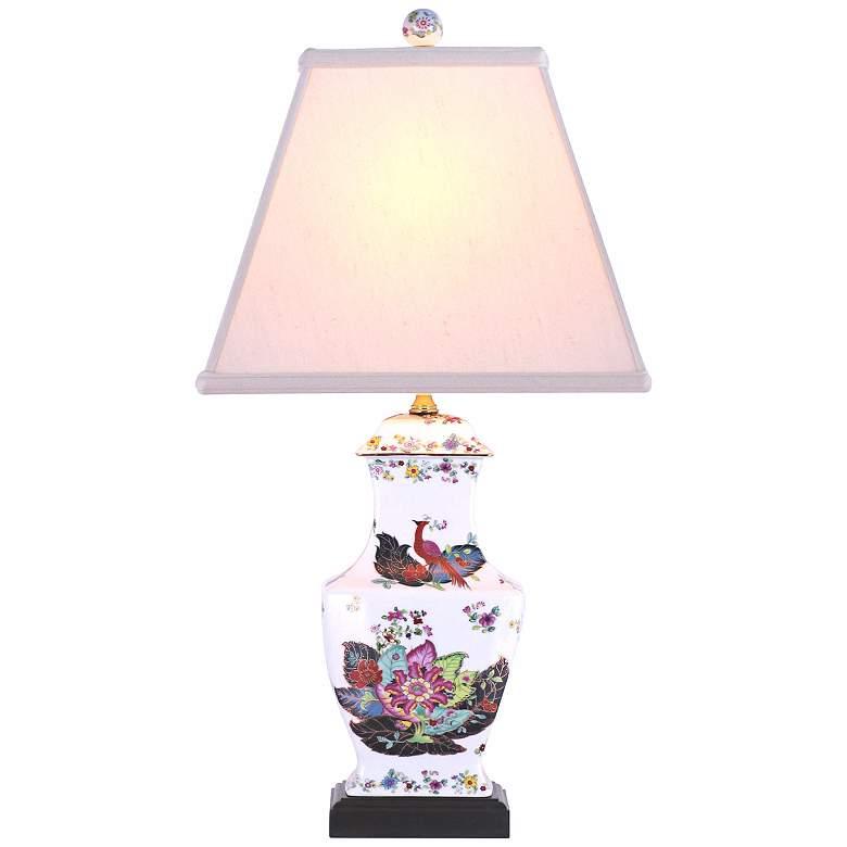 Peacock Garden Porcelain Vase Table Lamp