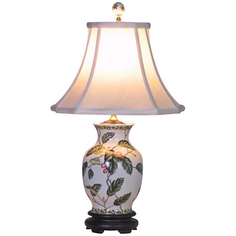 Leaf and Vine Porcelain Ginger Jar Vase Table Lamp