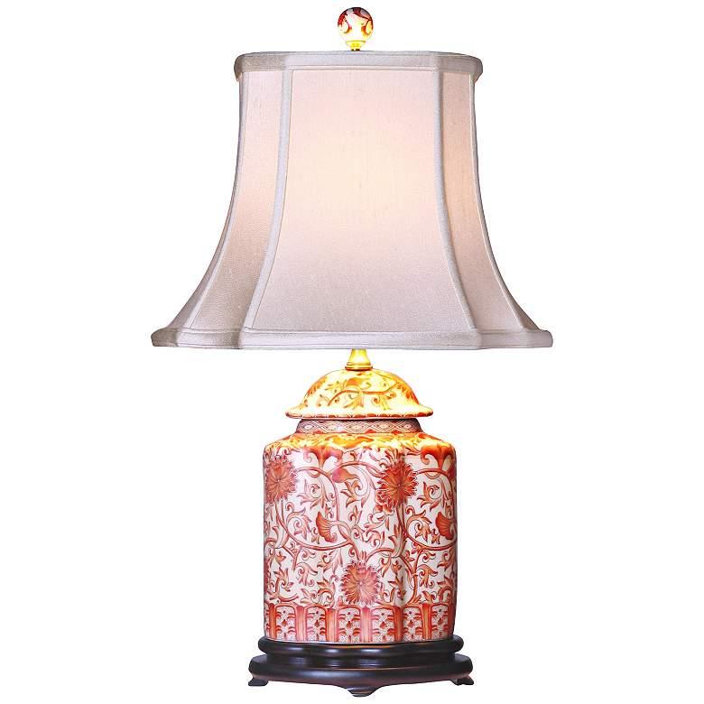 Coral Porcelain Scalloped Tea Jar Table Lamp