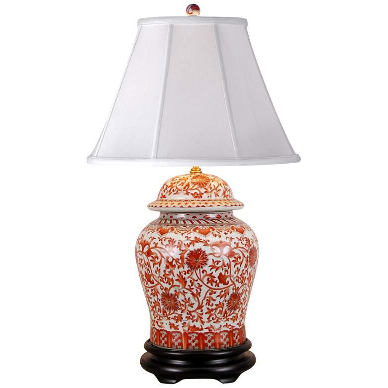 Coral Porcelain Temple Jar Table Lamp