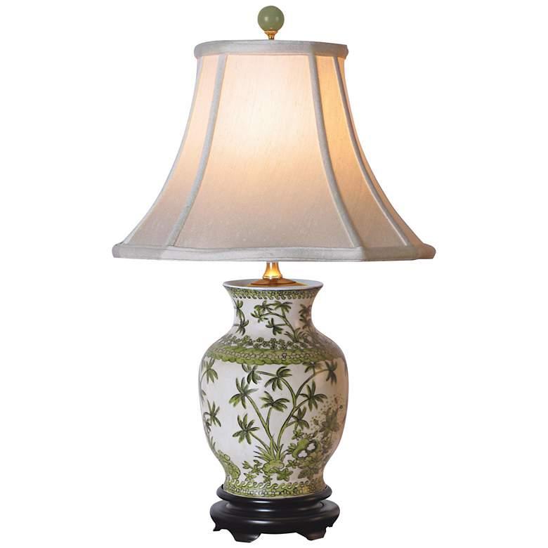 Palm Tree Porcelain Vase Table Lamp