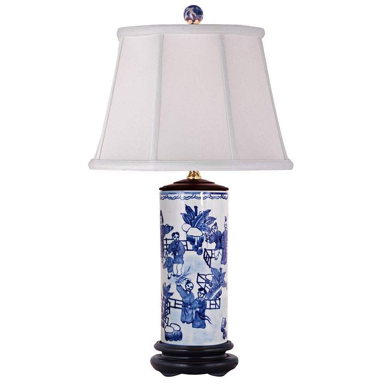 Blue and White Porcelain Canister Jar Table Lamp