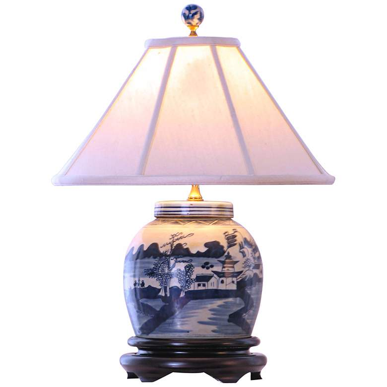 """Canton Blue and White 20"""" High Porcelain Jar Table Lamp"""