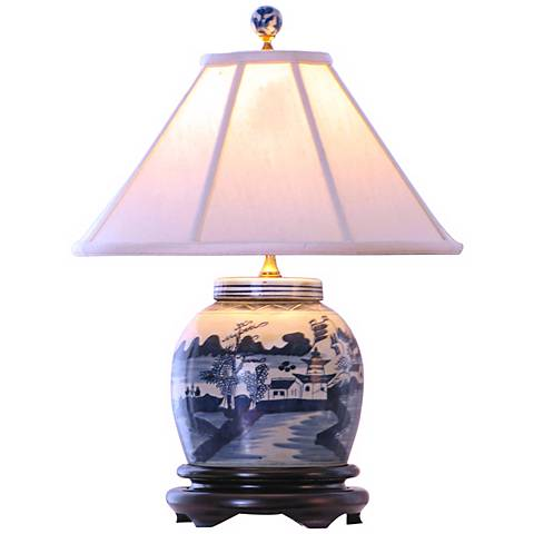 "Canton Blue and White 20"" High Porcelain Jar Table Lamp"