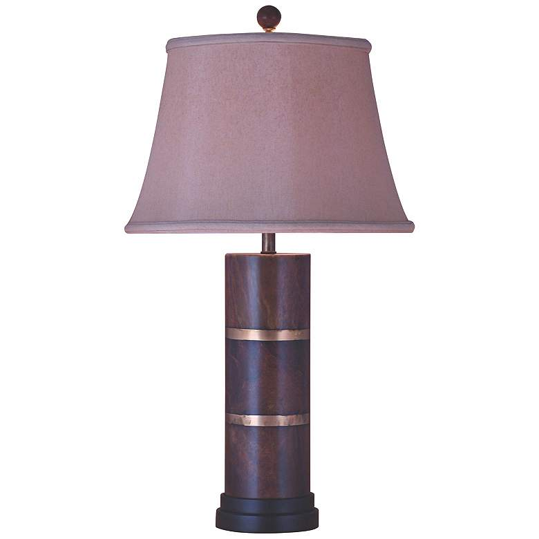 Bronze and Jade Post Table Lamp