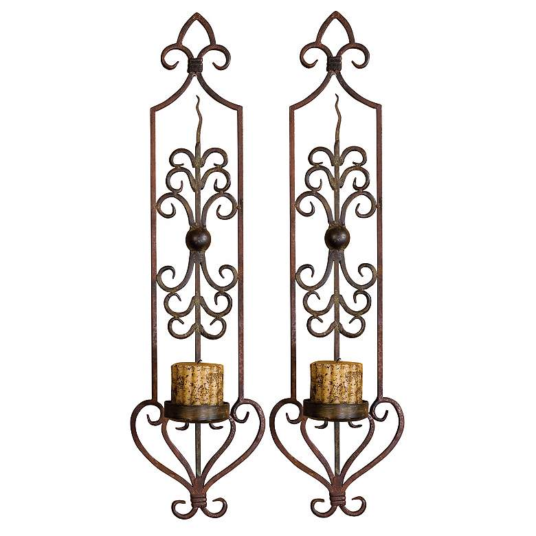 "Hand Forged 30"" High Candle Wall Sconces Set of Two"