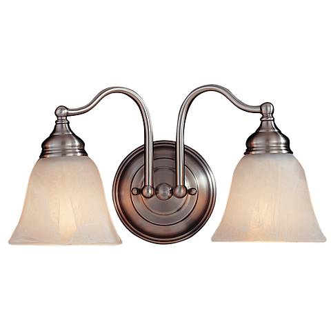 """Feiss Bristol Collection 15"""" Wide Pewter 2-Light Bath Light"""