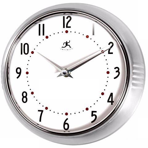 Retro Round Silver Finish Metal Wall Clock