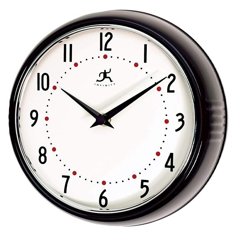 "Black Retro Round Metal 9 1/2"" Wide Wall Clock"