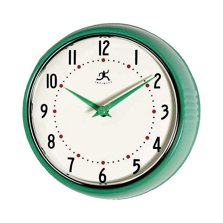 "Green Retro Round Metal 9 1/2"" Wide Wall Clock"