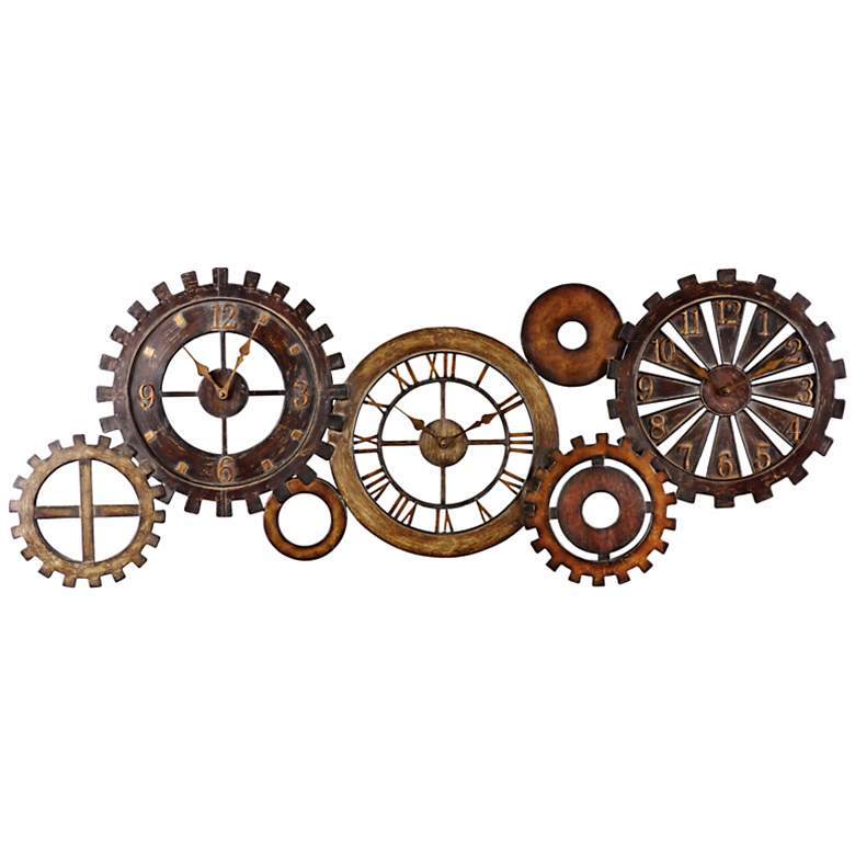 "Uttermost Spare Parts 54"" Wide Rustic Industrial Wall Clock"