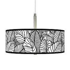 Black tropical pendant lighting lamps plus tropical leaves giclee pendant chandelier aloadofball Gallery