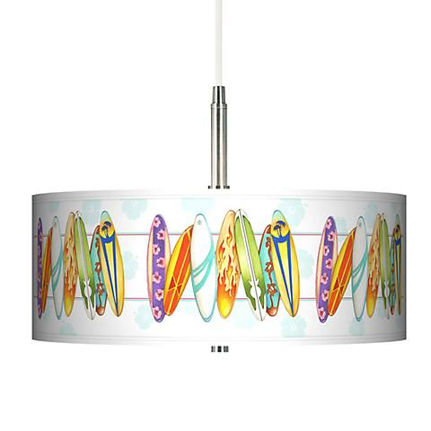 Surfboard Time Giclee Pendant Chandelier