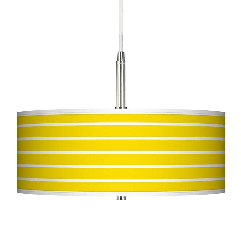 Vivid Yellow Stripes Giclee Pendant Chandelier