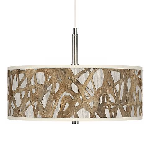 Organic Nest Giclee Brushed Steel Pendant Chandelier