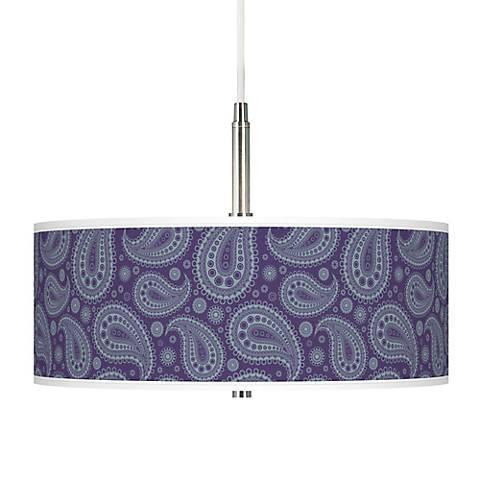 Purple Paisley Linen Giclee Pendant Chandelier