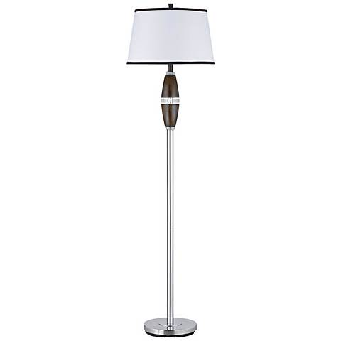 Chrome and Faux Wood Modern Floor Lamp