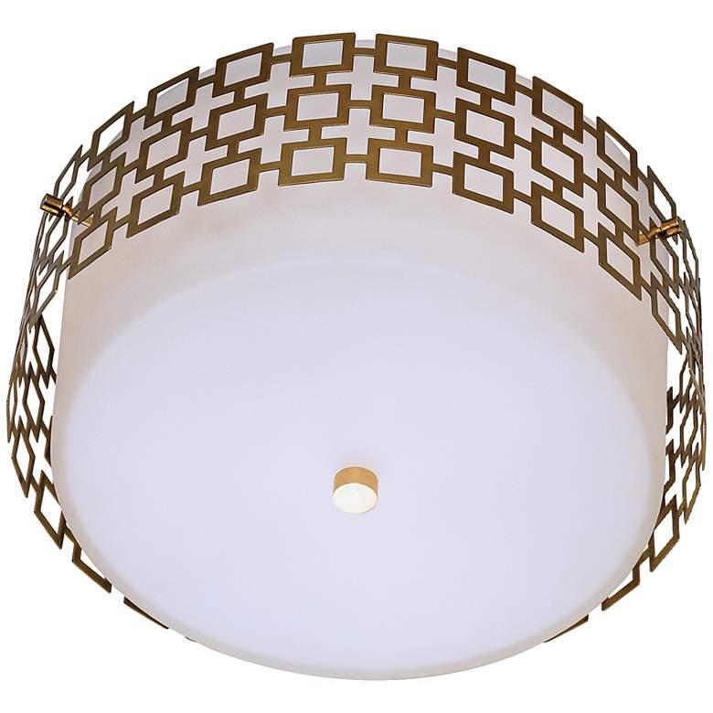 """Jonathan Adler Parker 15 1/4"""" Wide Brass Ceiling Light"""