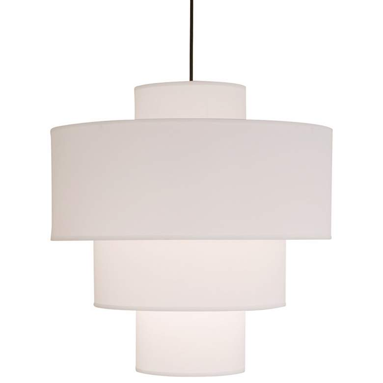 "Deco Deluxe White Linen 21"" Wide Pendant Light"