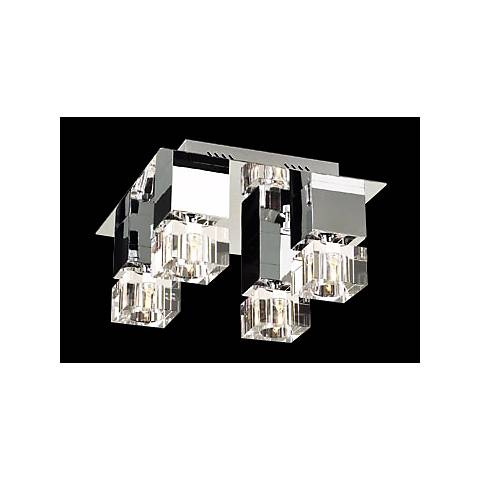 """Charm Chrome and Glass 14"""" Wide Ceiling Light Fixture"""