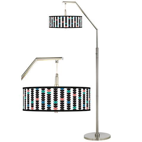 Semi-Dots Giclee Shade Arc Floor Lamp