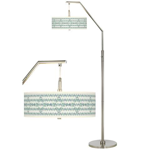 Triangular Stitch Giclee Shade Arc Floor Lamp