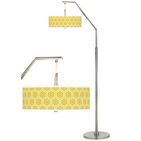 Honeycomb Giclee Shade Arc Floor Lamp
