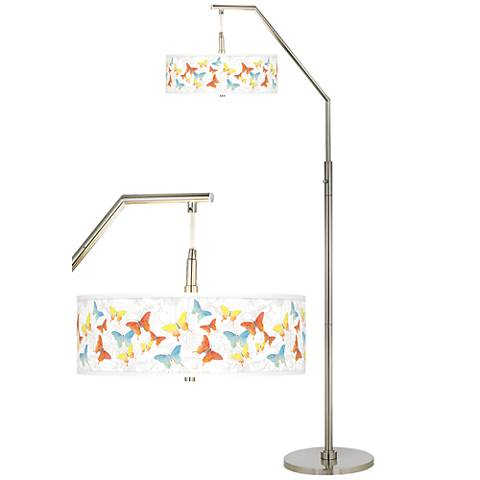 Pastel Butterflies Giclee Shade Arc Floor Lamp