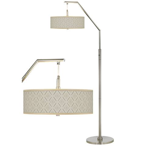 Moroccan Diamonds Giclee Shade Arc Floor Lamp