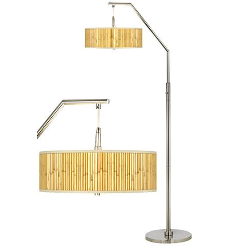 Bamboo Mat Giclee Shade Arc Floor Lamp