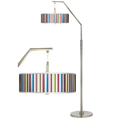 Technocolors Silver Metallic Giclee Shade Arc Floor Lamp