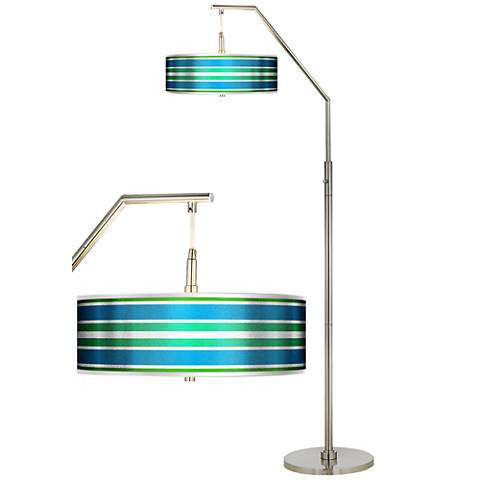 Multi Color Stripes Silver Metallic Giclee Shade Arc Floor Lamp