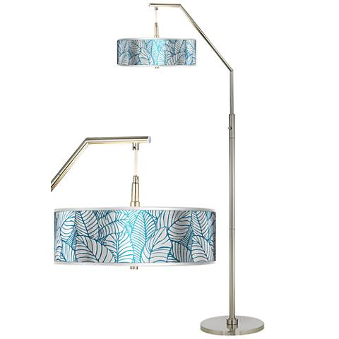 Tropical Leaves Silver Metallic Giclee Shade Arc Floor Lamp