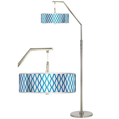 Matrix Silver Metallic Giclee Shade Arc Floor Lamp