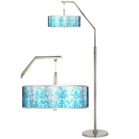 Mosaic Silver Metallic Giclee Shade Arc Floor Lamp
