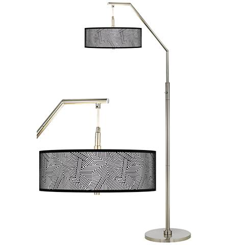 Labyrinth Silver Metallic Giclee Shade Arc Floor Lamp