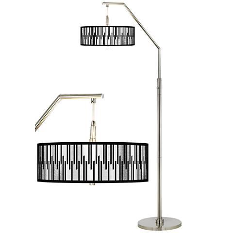 Segments Silver Metallic I Giclee Shade Arc Floor Lamp