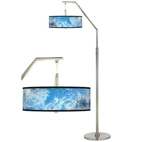 Ultrablue Giclee Shade Arc Floor Lamp