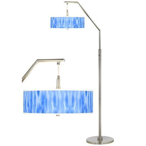 Blue Tide Giclee Shade Arc Floor Lamp