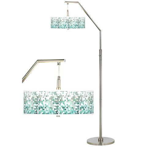 Aqua Mosaic Giclee Shade Arc Floor Lamp