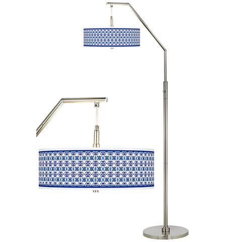 Indigo Path Giclee Shade Arc Floor Lamp