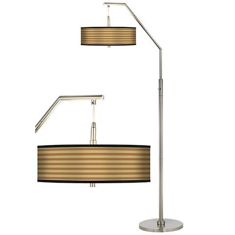 Butterscotch Parallels Giclee Shade Arc Floor Lamp